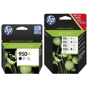 HP 950XL + 951XL, pack 1 black cartridge + 1 multipack black + color high capacity for inkjet printer