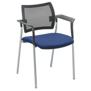 Armchair Yota blue back rest in black mesh structure