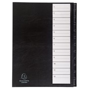 Multipart file 12 numerical tabs - A4 - Black