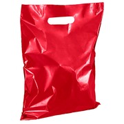 Shopping bags with flat handles red H 32 x W 25 cm pack of 100