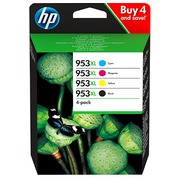 HP 953XL pack 4 cartridges high capacity: 1 black + 3 colors for inkjet printer