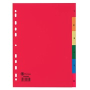 Dividers A4 colored polypropylene Bruneau 6 numerical and colored tabs - 1 set