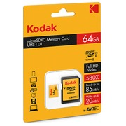 Micro SDHC memory card 64 GB with SDHC adapter - class 10
