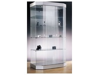 Prestige, hexagonal glass showcase, aluminium base